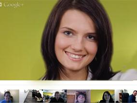Six people having a split screen google hangout video session